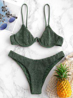 ZAFUL Smocked Underwire Bikini Set - Camouflage Green M