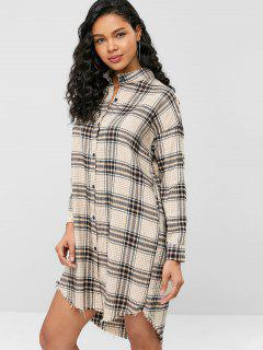 Knee Length Plaid Frayed Shirt Dress - Multi