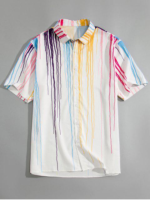 sale Drippy Lines Print Shirt - WHITE 2XL Mobile