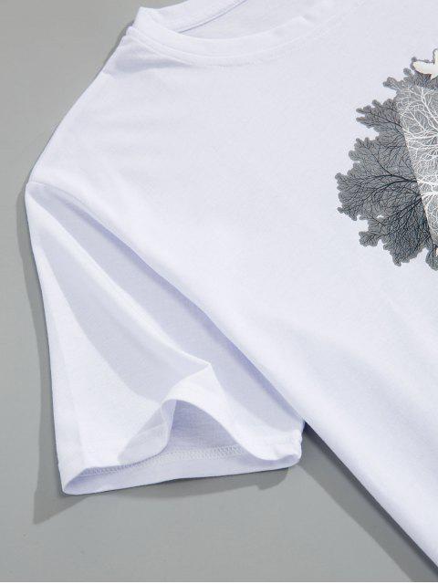 Camiseta con estampado de árboles - Blanco L Mobile