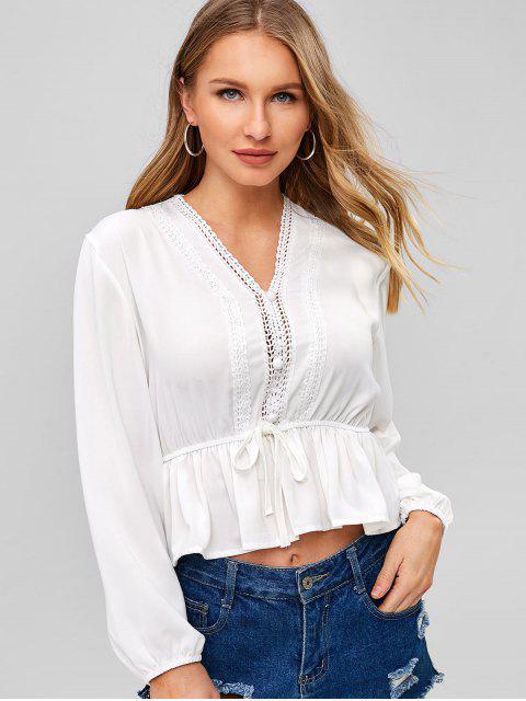 outfits Applique Trim Peplum Flounce Blouse - WHITE S Mobile