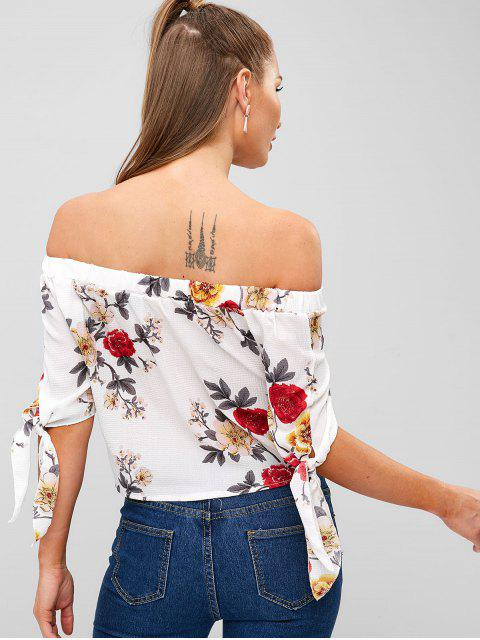 buy Knotted Floral Off Shoulder Blouse - WHITE XL Mobile