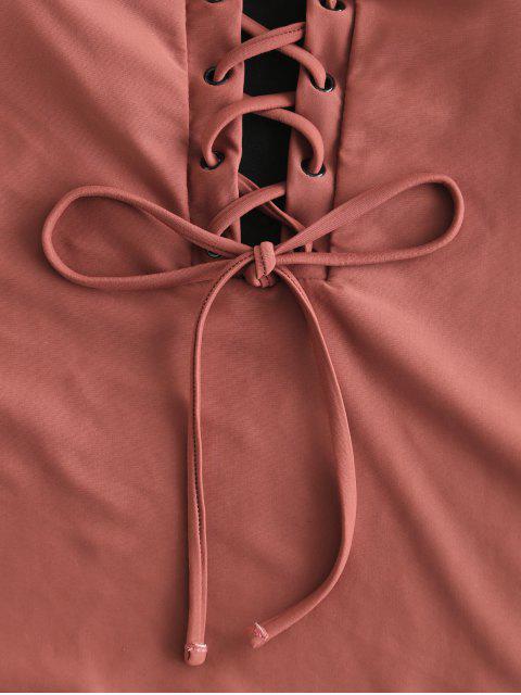 ZAFUL Ojales con cordones Traje de baño de una pieza - Castaña XL Mobile