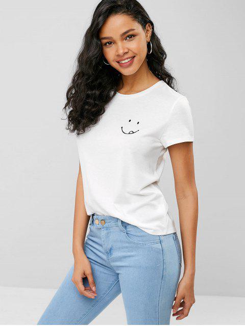 Camiseta con gráfico de cara sonriente - Blanco S Mobile