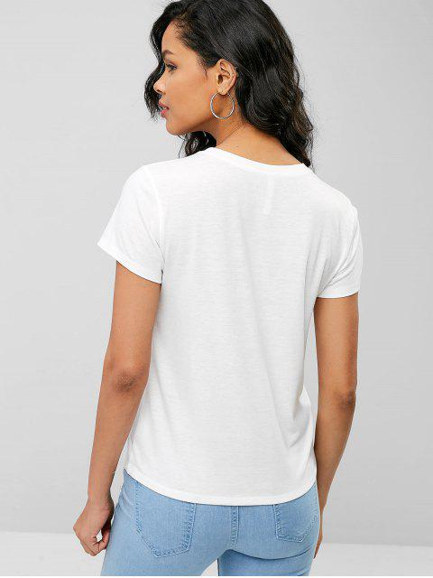 Camiseta con gráfico de cara sonriente - Blanco M Mobile