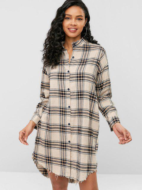 chic Knee Length Plaid Frayed Shirt Dress - MULTI ONE SIZE Mobile