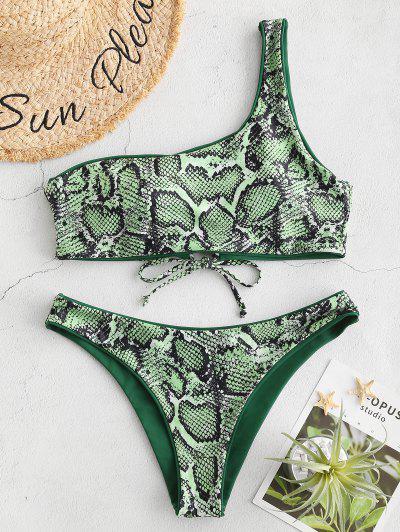 06a22af1931 ZAFUL Snakeskin One Shoulder Reversible Bikini Set - Medium Forest Green L