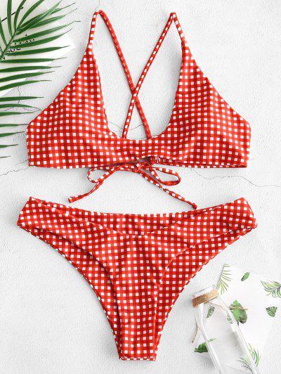 4961841c69a2d ZAFUL Loop Tie Gingham Scoop Bikini Set - Rosso Red S ...