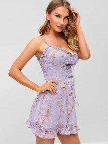 0e9c85e0330 31% OFF   HOT  2019 Lace-up Ruffles Floral Sundress In PURPLE