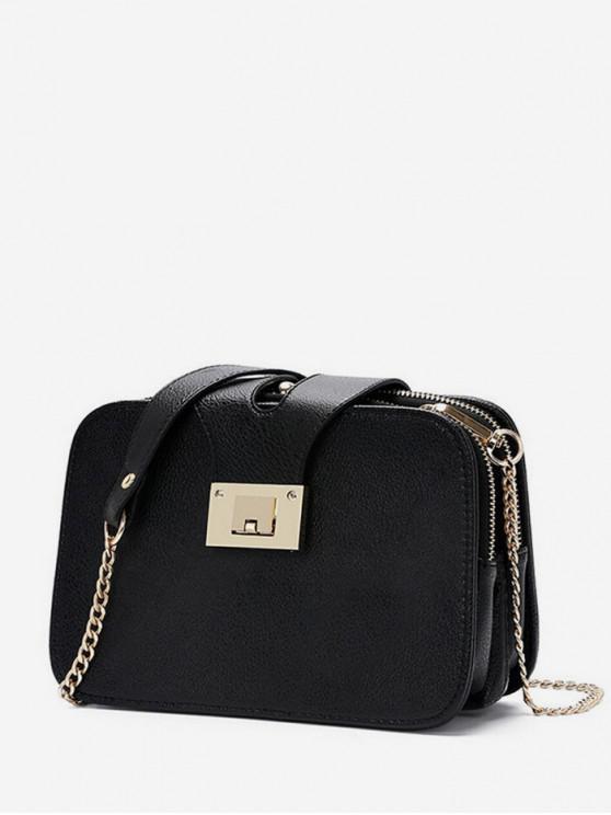 8bbfa94377592 حقيبة كروس صغيرة بسلسلة مربعة - أسود
