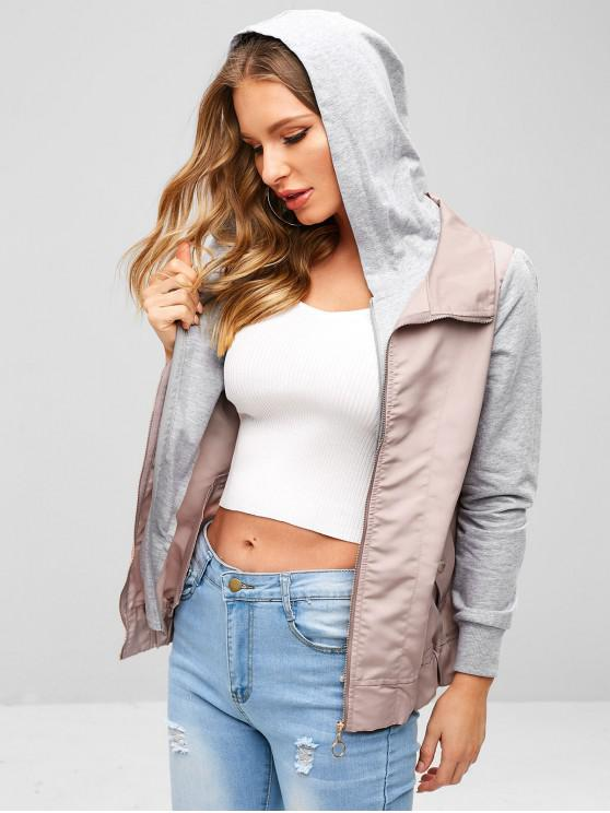 chic ZAFUL Zip Up Patchwork Hooded Jacket - PINK M