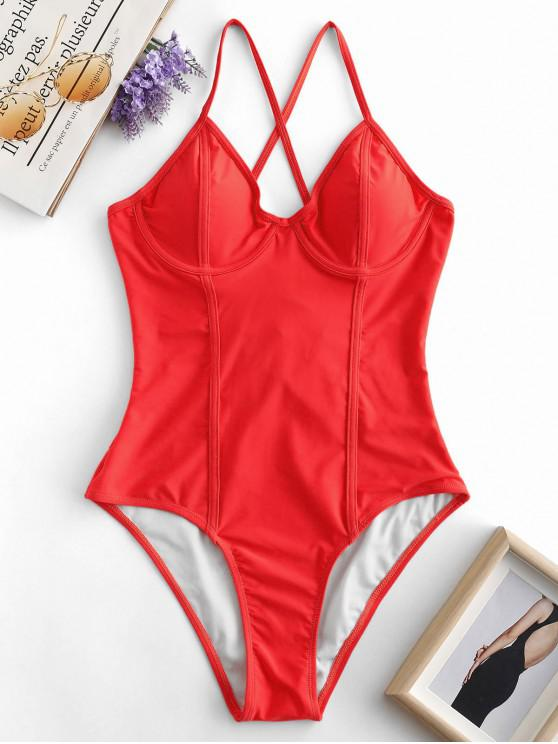 new ZAFUL Crisscross Lace-up Underwire Swimsuit - LAVA RED S