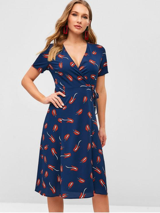 ladies Short Sleeve Printed Wrap Dress - MIDNIGHT BLUE S
