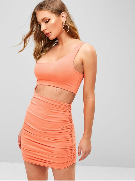 Ruched Cut Out Um Ombro Bodycon Dress - Rosa Laranja S