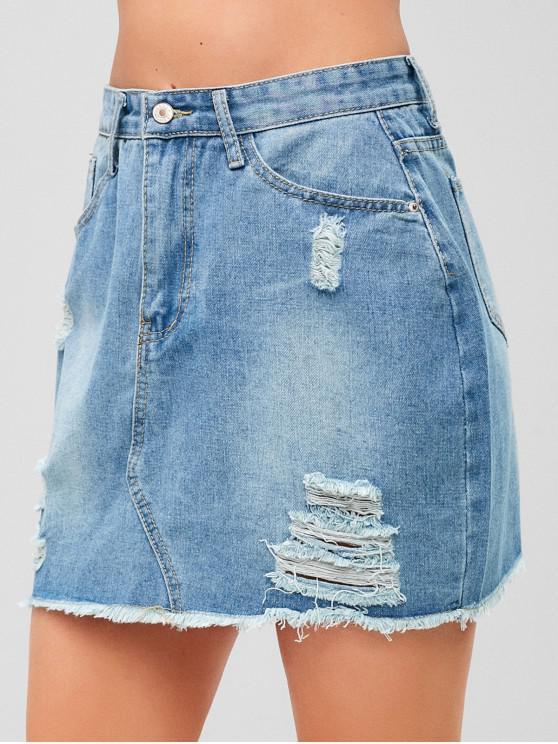trendy Ripped Jean Skirt - DENIM BLUE L