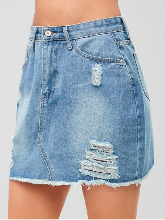fancy Ripped Jean Skirt - DENIM BLUE XL
