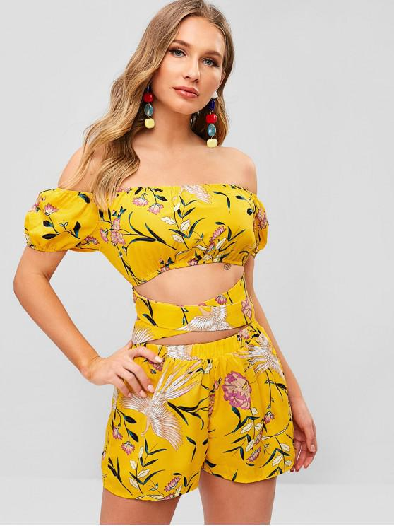 sale ZAFUL Floral Print Knotted Top and Shorts Set - RUBBER DUCKY YELLOW L