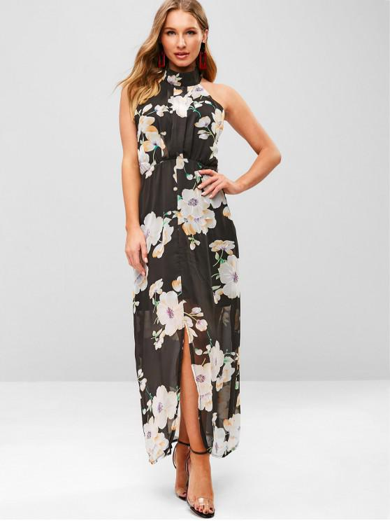 ladies Flower Print Chiffon Slit Vacation Dress - BLACK M