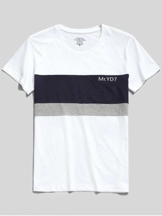 Letras Imprimir Color Block Casual T-shirt - Multi-A	 L
