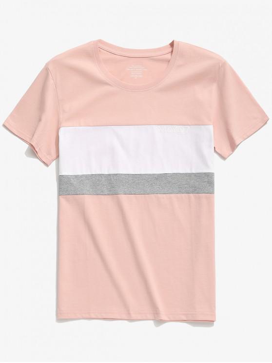fashion Letters Print Color Block Casual T-shirt - MULTI-B M