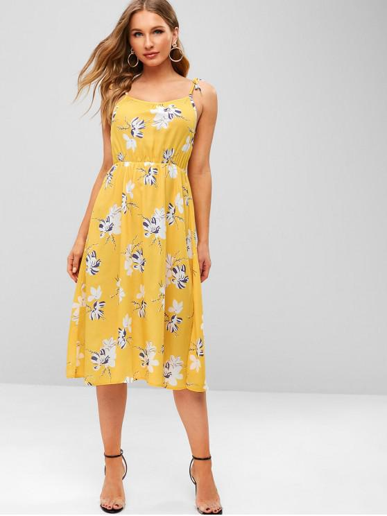fancy ZAFUL Cami Tied Straps Floral Dress - BRIGHT YELLOW M