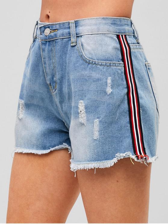 ladies Side Striped Ripped Denim Shorts - DENIM BLUE M