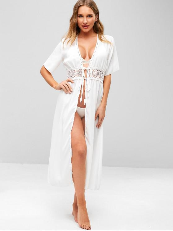 dfde939e56 28% OFF] 2019 Crochet Tie Front Longline Beach Cover Up In WHITE | ZAFUL