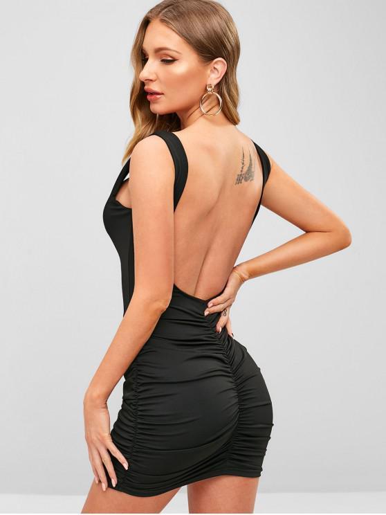 Mini vestido ajustado con pliegues elásticos en la espalda abierta - Negro M