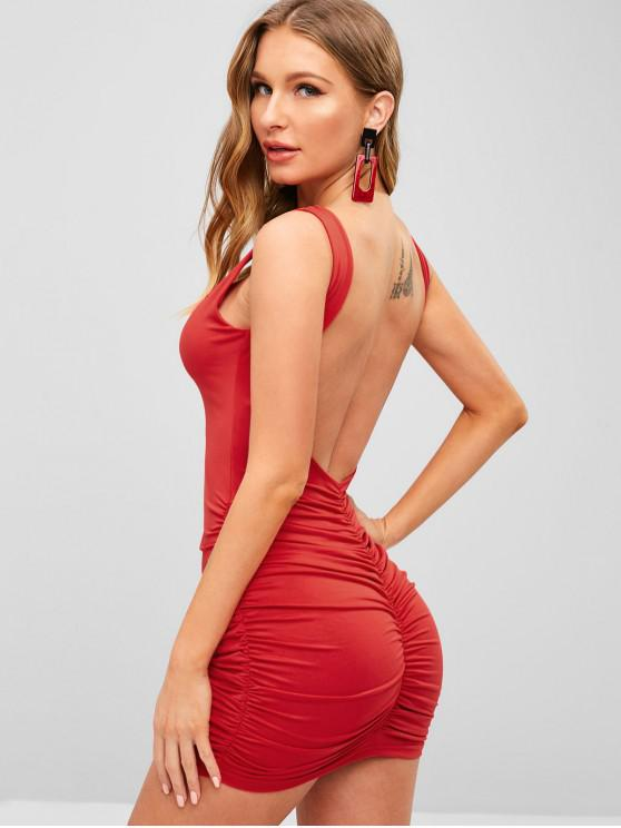 031d27af4aa5 22% OFF] 2019 Open Back Ruched Stretchy Bodycon Mini Dress In RED ...