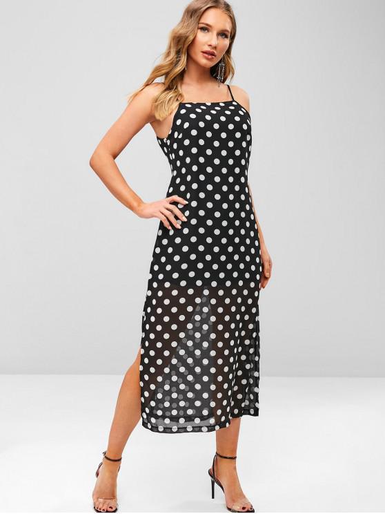 latest ZAFUL Polka Dot Slit Cami Dress - BLACK S