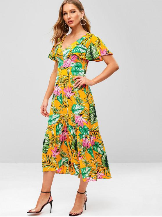 outfits ZAFUL Flower Butterfly Sleeve Flounce Dress - BRIGHT YELLOW M