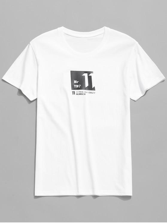 shops Casual Graphic Letters Print T-shirt - WHITE L