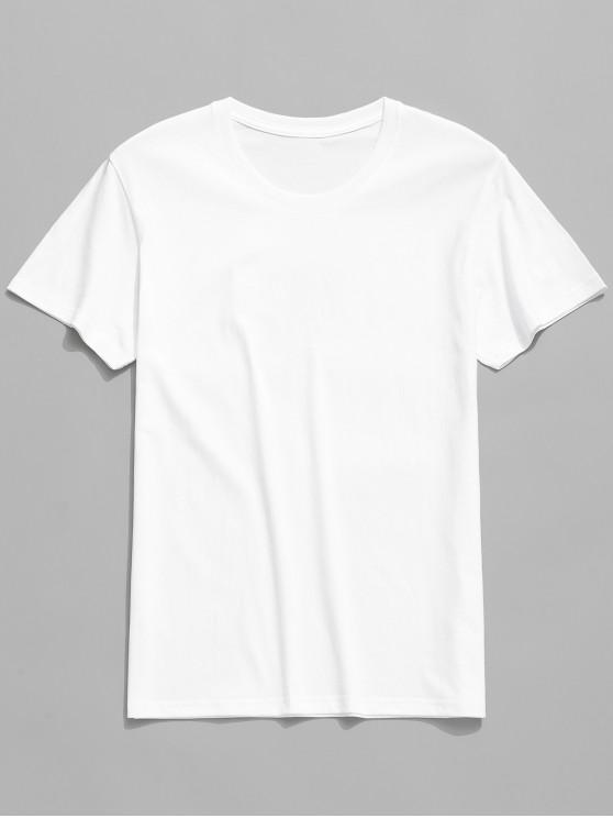 latest Round Neck Solid Color Casual T-shirt - WHITE L