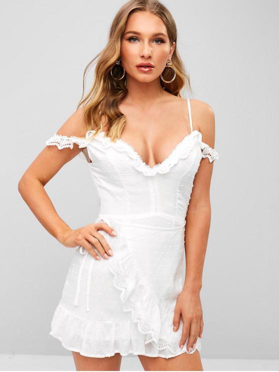 sale Lace Trim Cold Shoulder Ruffle Mini Dress - WHITE M