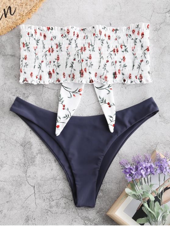 women ZAFUL Knot Plant Print Smocked Bikini Set - JET GRAY M