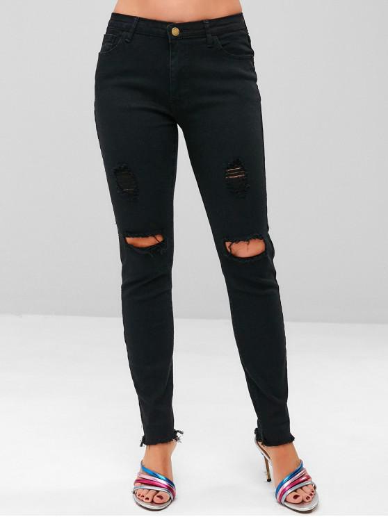 buy Stretchy Ripped Frayed Hem Jeans - BLACK S