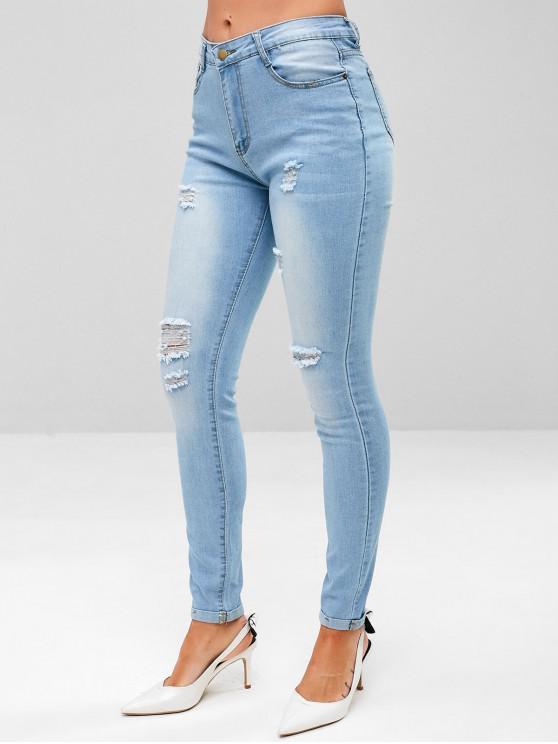 women's Distressed Light Wash Skinny Jeans - DENIM BLUE L