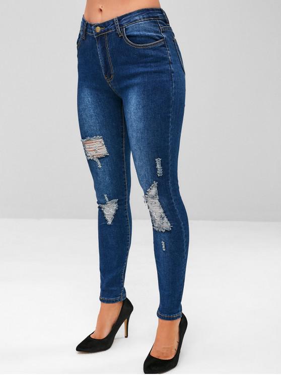 fancy Dark Wash Distressed Skinny Jeans - DENIM DARK BLUE S