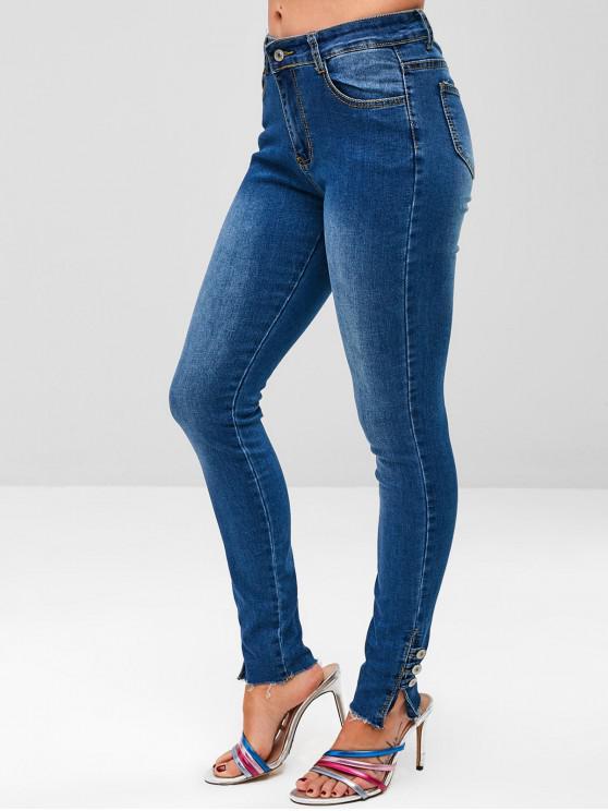 women Buttoned Ankle Raw Hem Jeans - DENIM DARK BLUE M