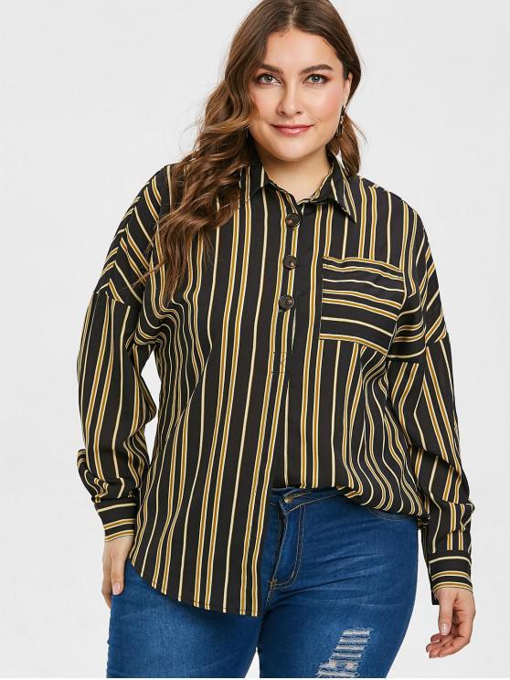 ZAFUL Plus Size Bluse mit gestreifter Tasche und halber Knopfleiste - Schwarz L
