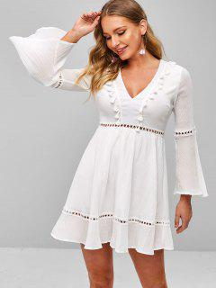 Hollow Out Flare Sleeve Plunging Dress - White L