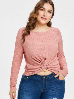 ZAFUL T-shirt En Tricot Tordu En Avant De Grande Taille - Rose Cochon 3x