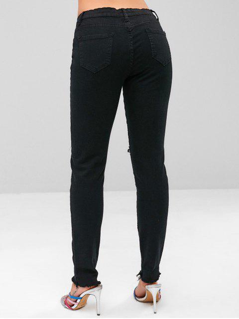 fancy Stretchy Ripped Frayed Hem Jeans - BLACK XL Mobile
