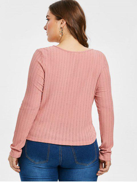 ZAFUL T-shirt en Tricot Tordu en Avant de Grande Taille - Rose Cochon 4X Mobile