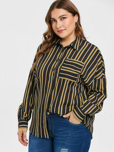 34d68ac8c194e ... Conful Plus Size Striped Pocket Half Button Blouse - Black - Black L