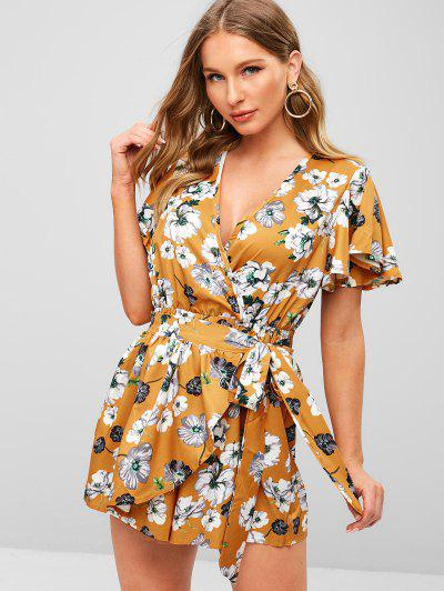 926ec82f4a5 Plunging Neck Floral Print Layered Romper - Bee Yellow - Bee Yellow M