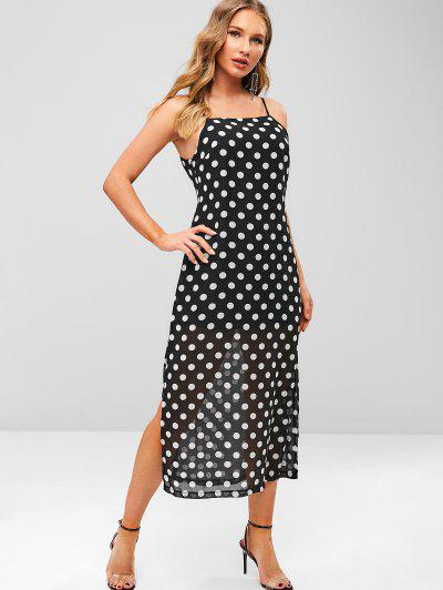 c551b7e7a5 ZAFUL Polka Dot Slit Cami Dress - Black S
