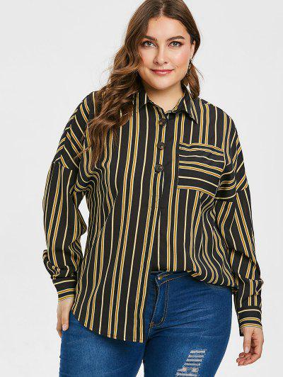 d400182c270c ZAFUL Plus Size Striped Pocket Half Button Blouse - Black L ...