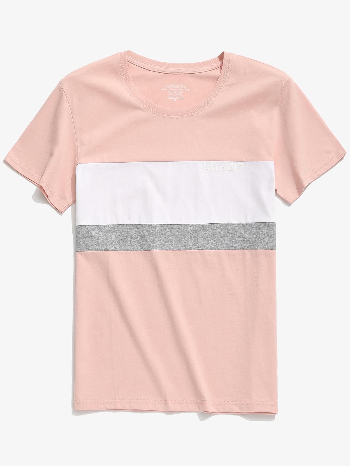 Letters Print Color Block Casual T-shirt, Multi-b