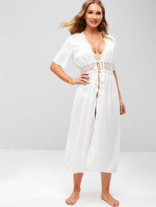 cc92c3e03a6b0 28% OFF] [POPULAR] 2019 Crochet Tie Front Longline Beach Cover Up In ...